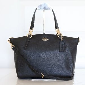 NWT Coach Leather Small Kelsey Satchel in Black